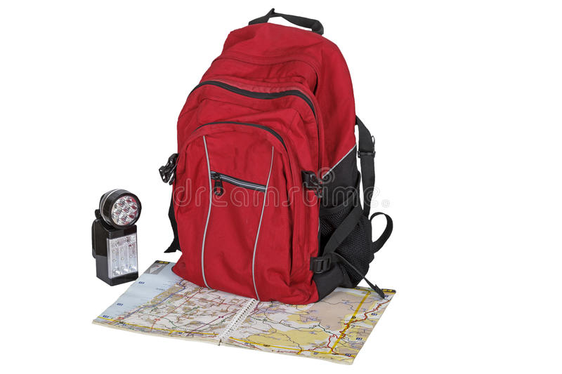 Backpack, map, flashlight royalty free stock photos
