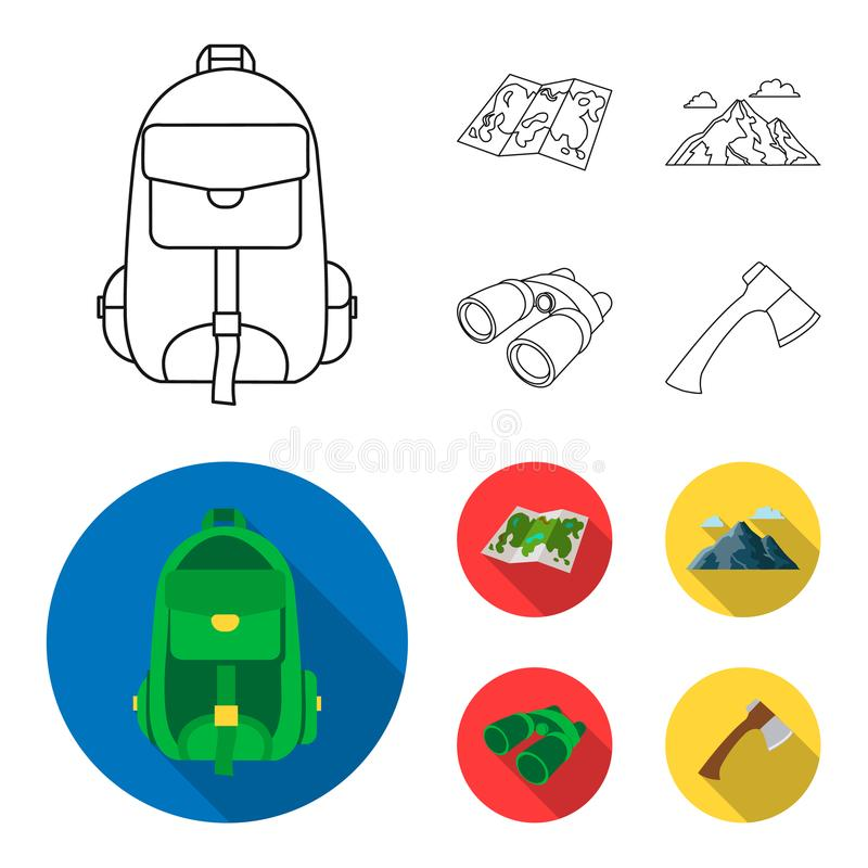 Backpack, mountains, map of the area, binoculars. Camping set collection icons in outline,flat style vector symbol stock royalty free illustration