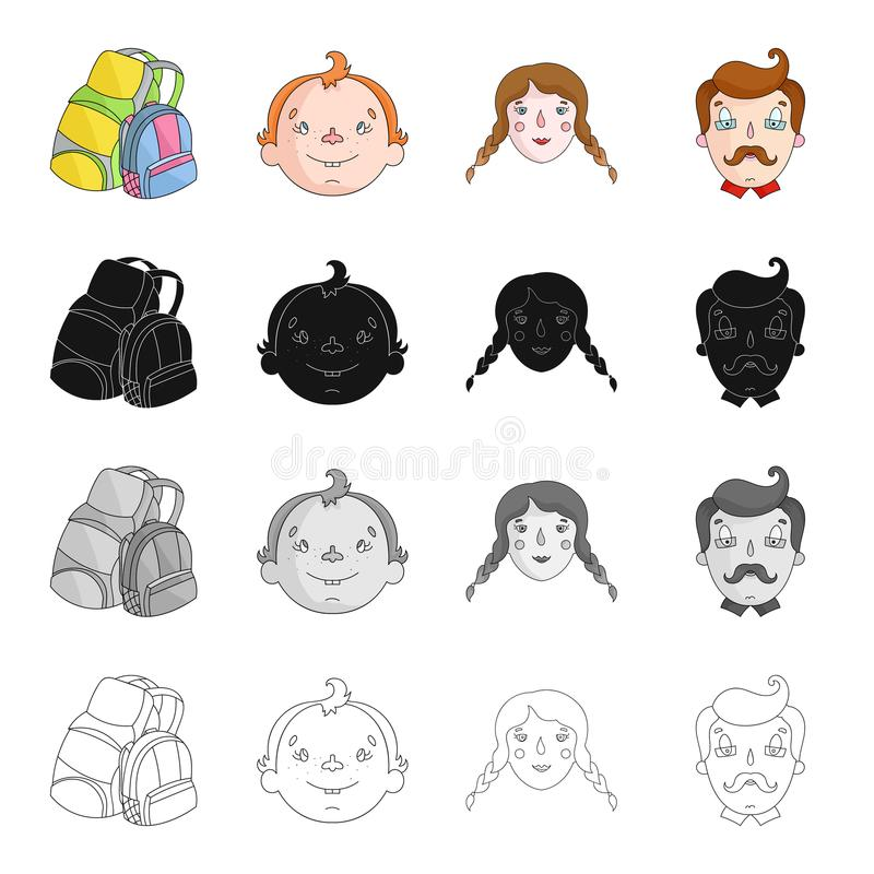 Backpack per resto, i fronti del ` s del ragazzo, le ragazze e gli uomini Icone stabilite della raccolta di festa della famiglia  illustrazione di stock