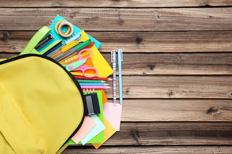 Backpack with school supplies royalty free stock photo