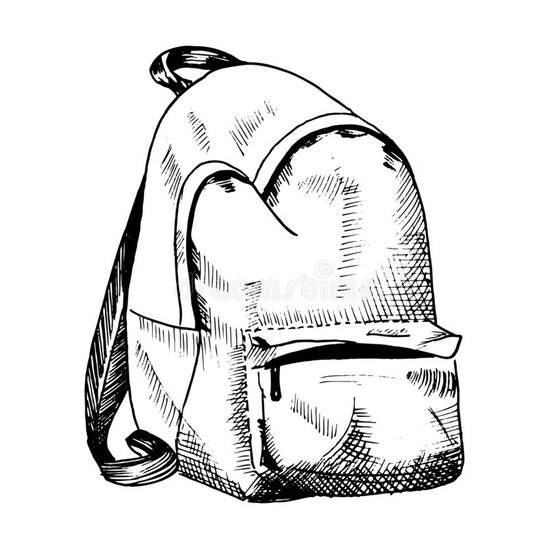 Backpack sketch. Hand drawn rucksack, sketch style vector illustration. Single, isolated on white. royalty free illustration