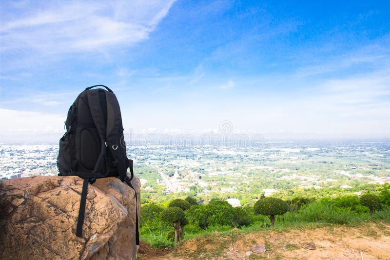 Backpack for traveler on the stone stock photos
