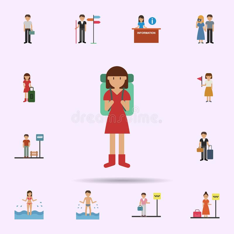 Backpack, woman cartoon icon. Universal set of travel for website design and development, app development royalty free illustration
