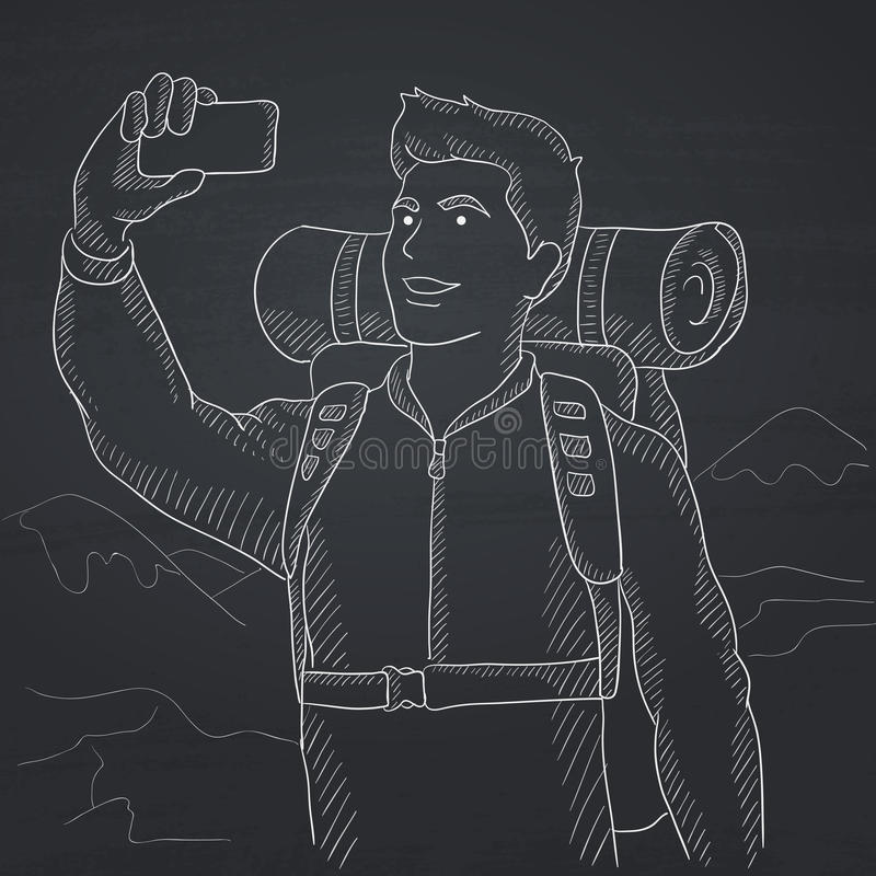 Backpacker που κάνει selfie ελεύθερη απεικόνιση δικαιώματος