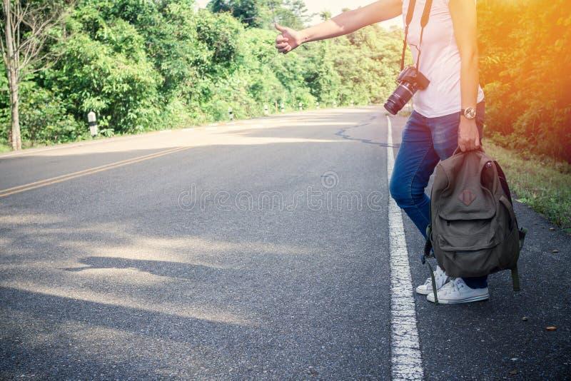 Backpacker στο δασικό κυματισμό οδών πάρκων στοκ φωτογραφίες με δικαίωμα ελεύθερης χρήσης