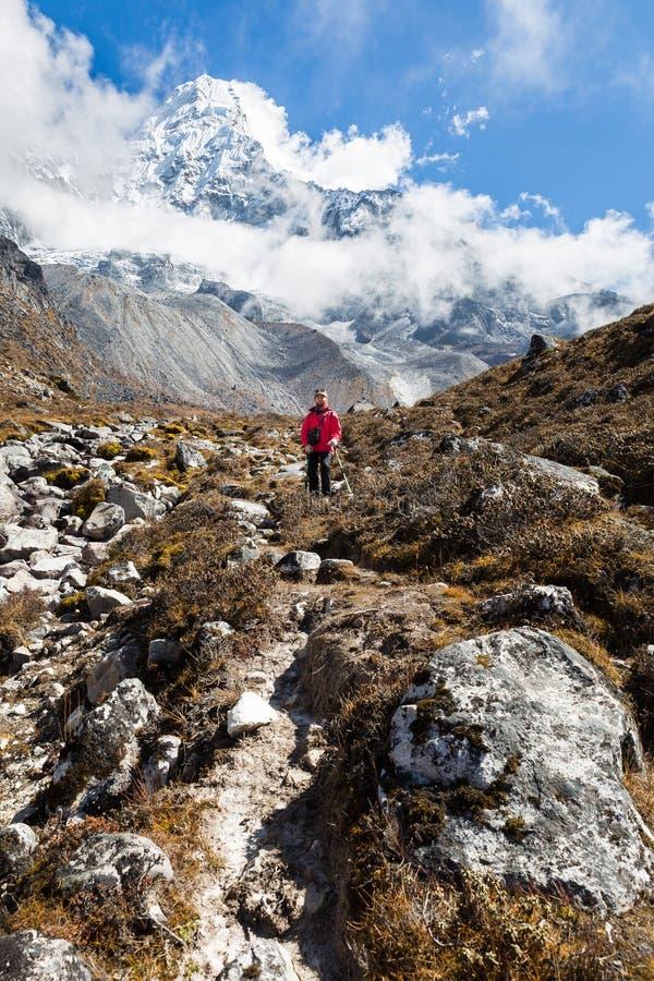 Backpacker женщины стоя в передней горе Ama Dablam вертикально стоковые изображения rf