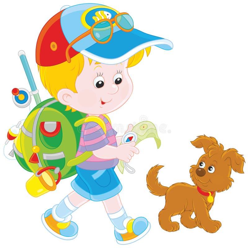 Backpacker мальчика иллюстрация штока