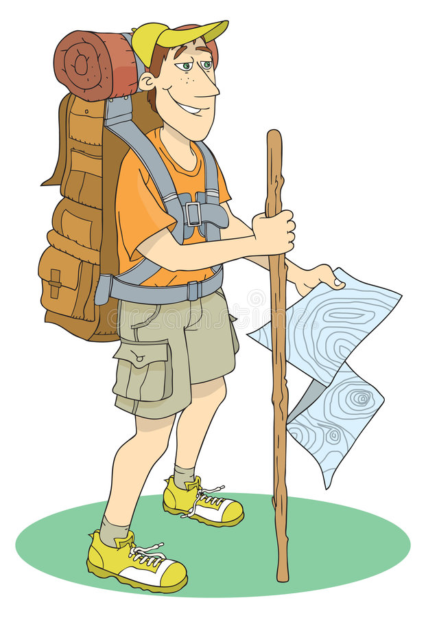 Backpacker ilustração royalty free