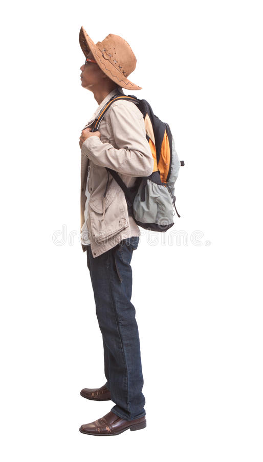 Download Backpacker In Acting On White Background Stock Image - Image: 28948489