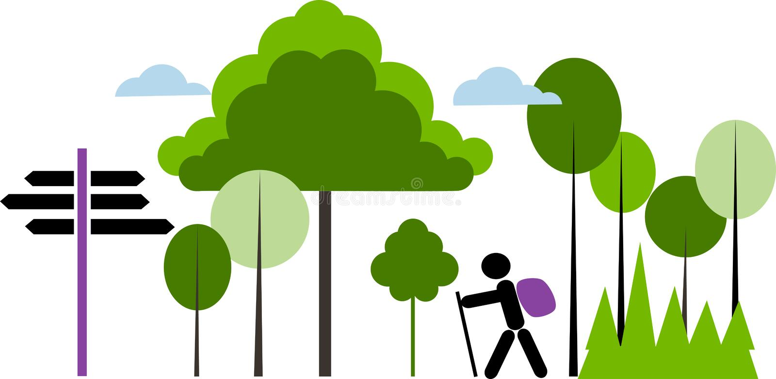 Download Backpacker With Bag In A Forest Stock Vector - Image: 23929818