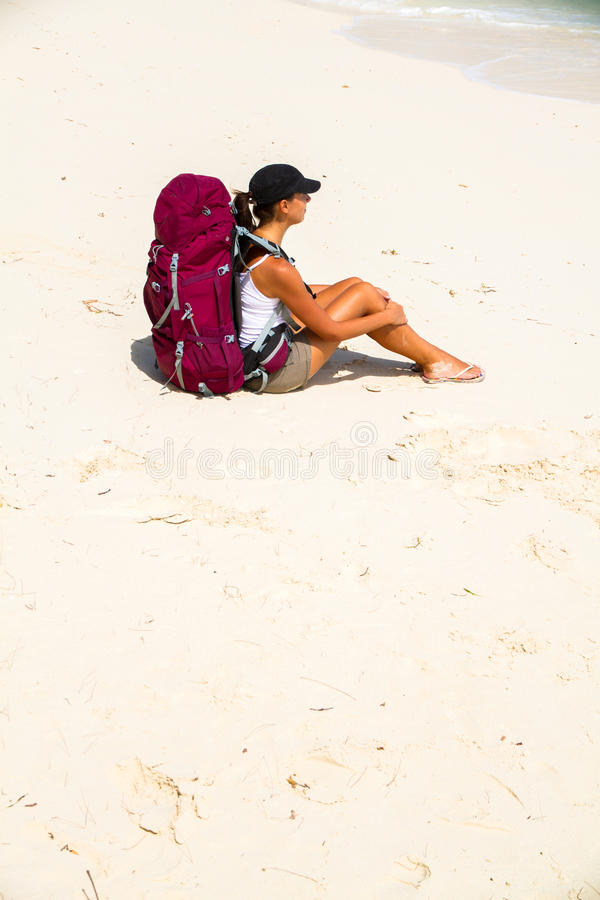 Download Backpacker on beach stock image. Image of freedom, young - 26758157