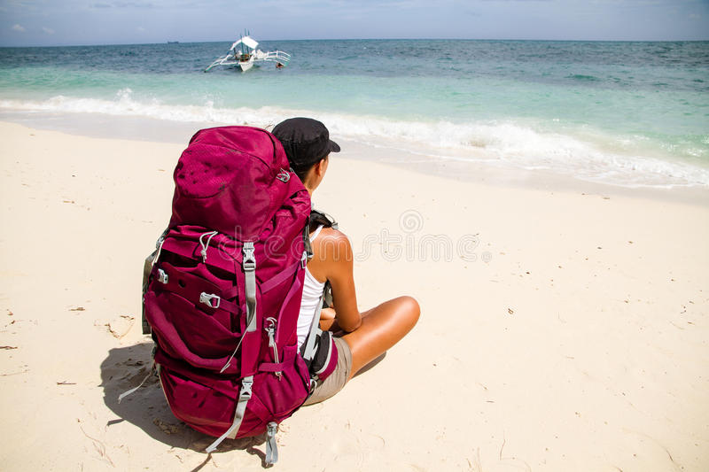 Download Backpacker On Beach Stock Images - Image: 26758244