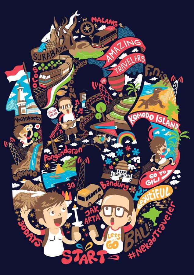 Backpacker bij het verbazen van reiziger in de illustratie van Indonesië royalty-vrije illustratie