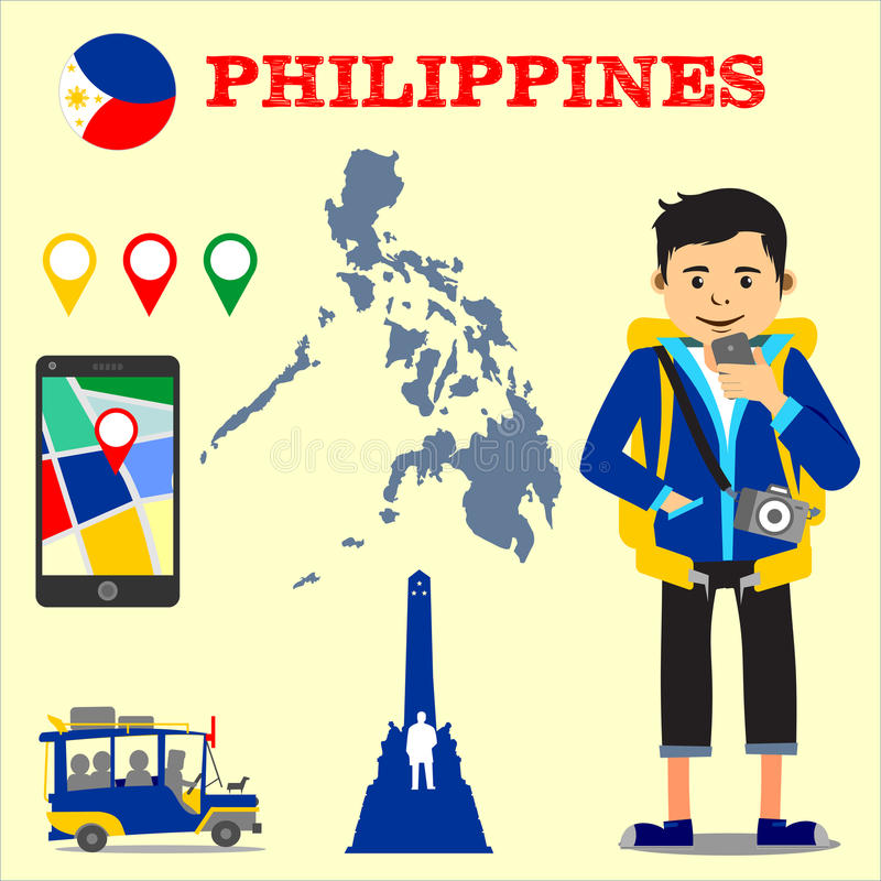 Backpacking destinations Philippines vector illustration