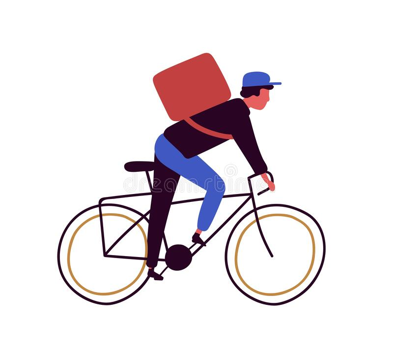 Backpacker cartoon male riding on bicycle vector flat illustration. Delivery man cyclist on bike isolated on white stock illustration
