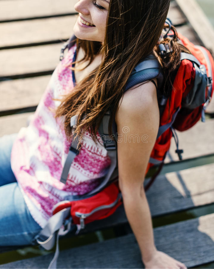 Backpacker Casual Travel Tourist Carefree Nature Concept royalty free stock photo