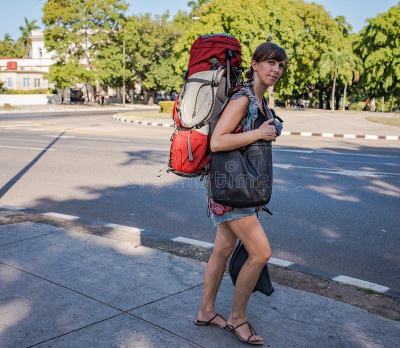 Backpacker In Cuba stock image