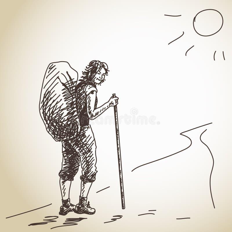 Backpacker de la mujer ilustración del vector