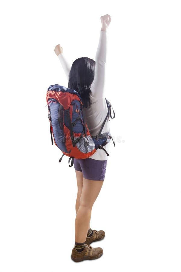 Backpacker despreocupado en estudio fotos de archivo
