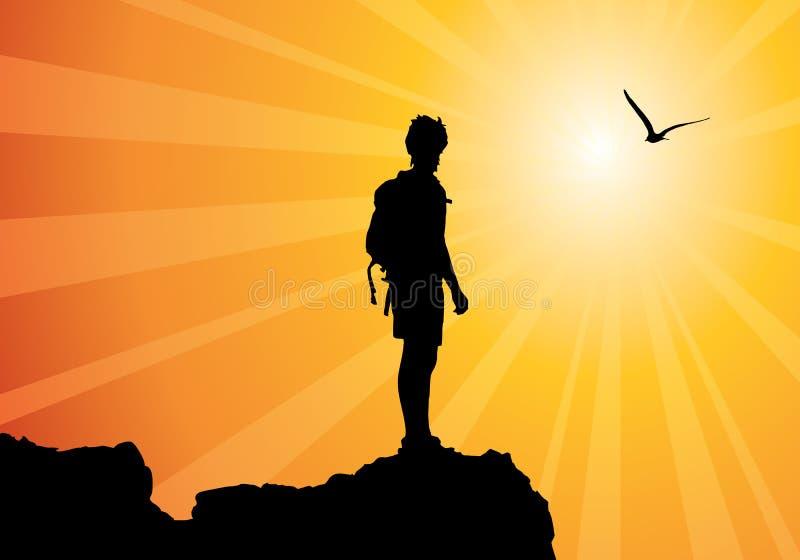 Backpacker die zich bovenop berg bevindt royalty-vrije illustratie