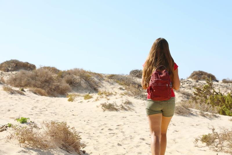 Backpacker, donna escursionista che cammina nella regione desertica di Fuerteventura, Isole Canarie fotografia stock