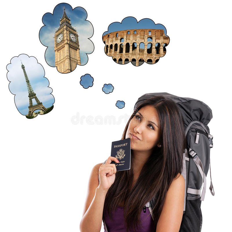 Download Backpacker Dreaming Of European Trip Stock Photo - Image of brown, famous: 25598606