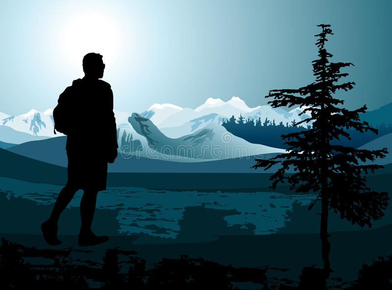 Download Backpacker Enjoying Of A Mountain Stock Vector - Image: 31176204