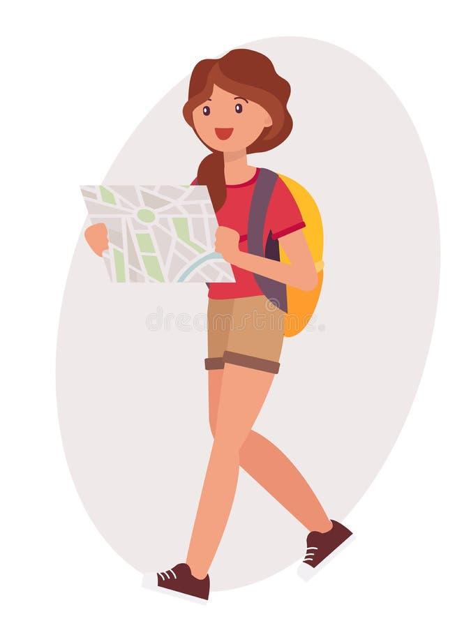 Backpacker femenino mA de lectura de la chica joven del diseño de personaje de dibujos animados ilustración del vector