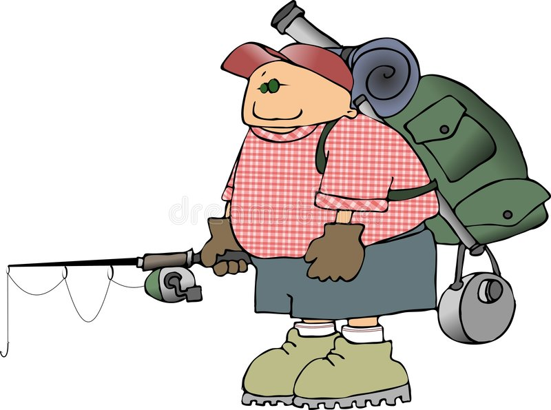 Backpacker With A Fishing Pole Royalty Free Stock Image