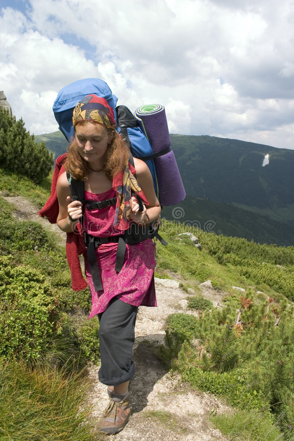 Download Backpacker girl stock photo. Image of backpack, path, outdoor - 2116574