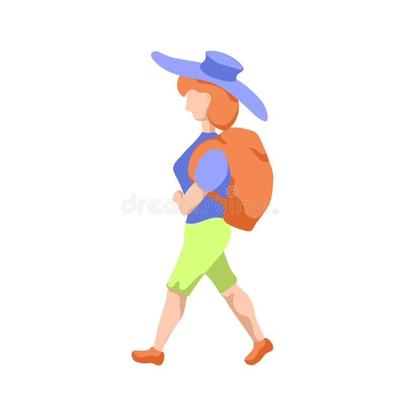 Backpacker girl in hat, flat style illustration on white background. Travelling woman with backpack stock illustration