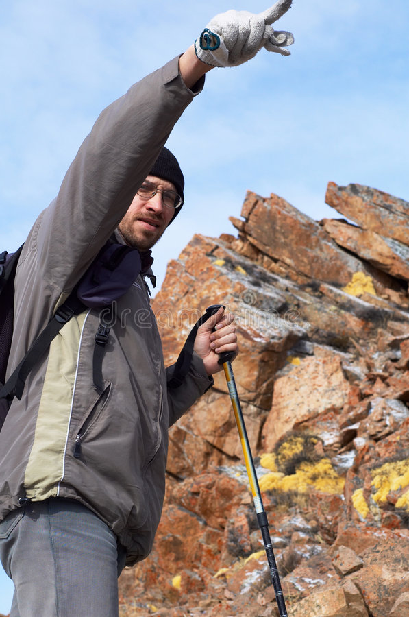 Download Backpacker In High Mountain Stock Photo - Image: 7187338