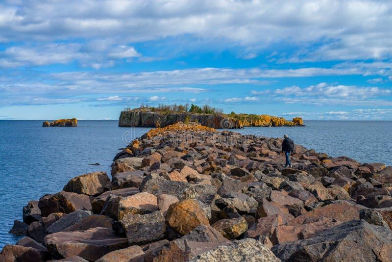 Backpacker, isla de la pelotilla, el lago Superior fotografía de archivo libre de regalías
