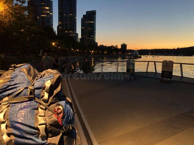 Backpacker noc fotografia royalty free