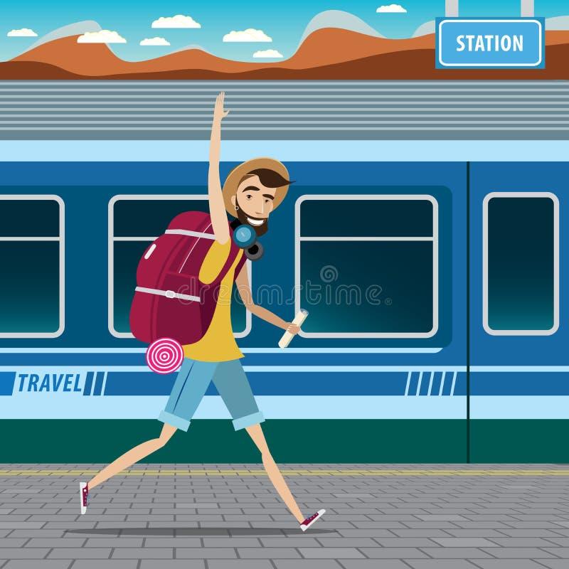 Backpacker przy stacją kolejową royalty ilustracja