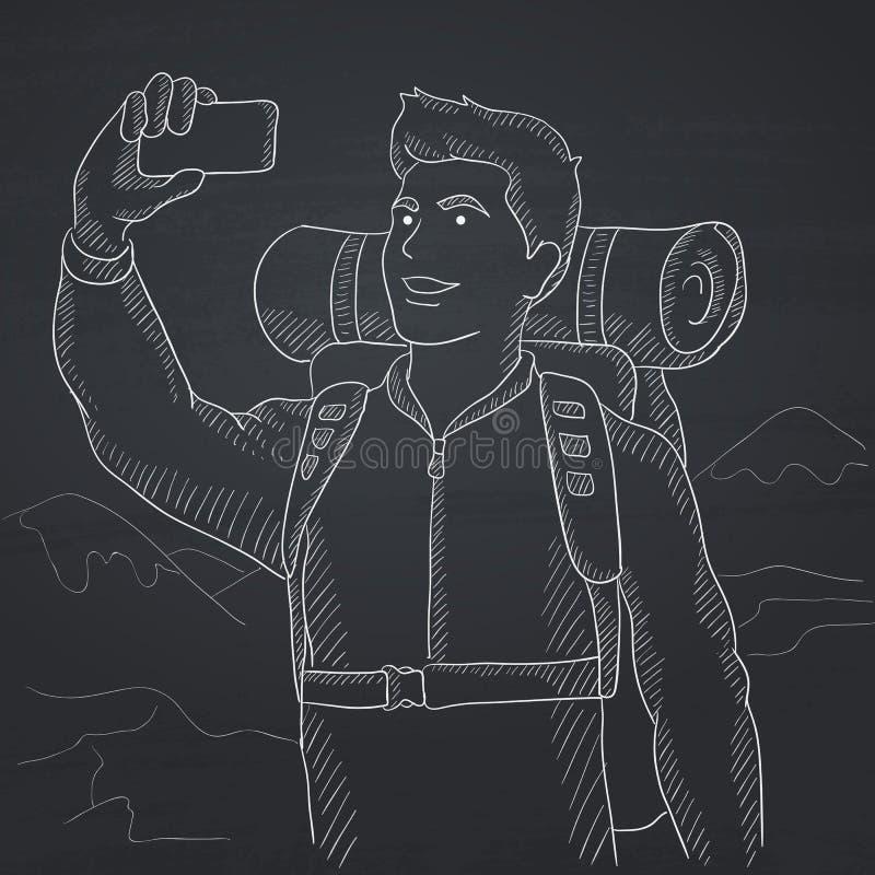 Backpacker que hace el selfie libre illustration