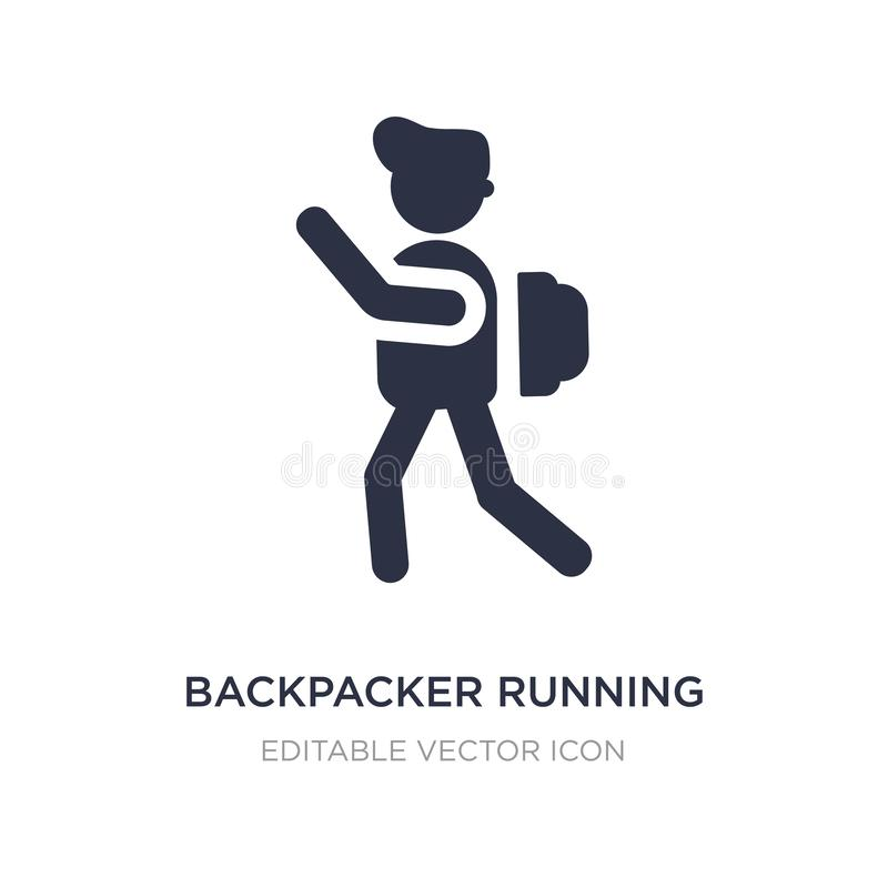 backpacker running icon on white background. Simple element illustration from People concept royalty free illustration