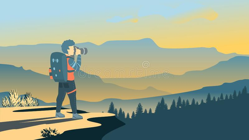 Backpacker standing on top of mountain, vector illustration stock illustration