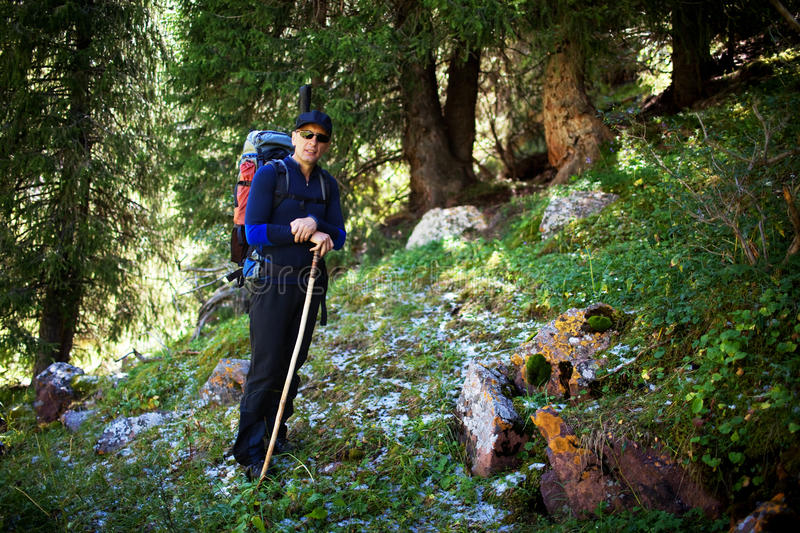 Download Backpacker In Summer Mountains Stock Photo - Image: 17886660
