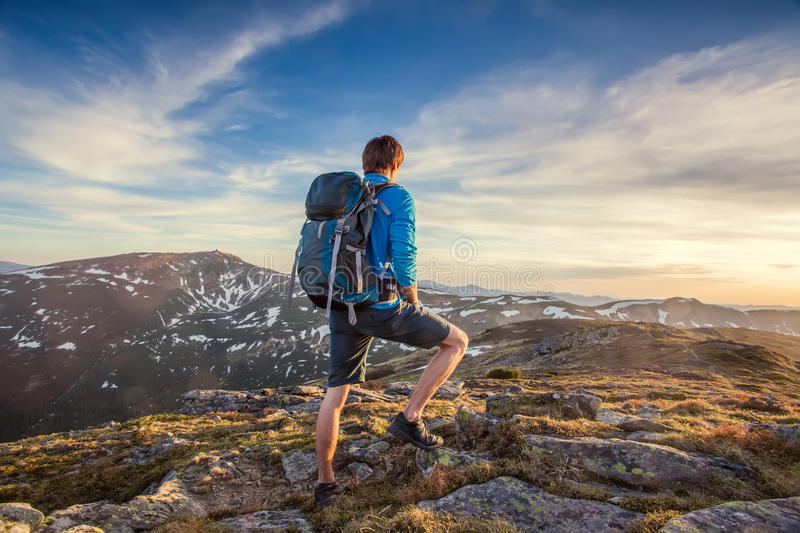 Download Backpacker On Top Of A Mountaine Stock Image - Image: 31761343