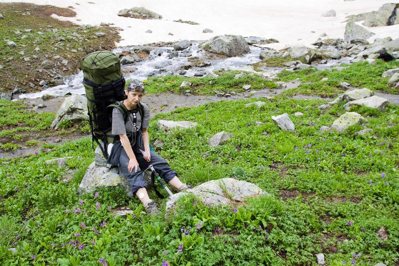 Download Backpacker Tourist In The Mountains. Stock Photo - Image: 15620522
