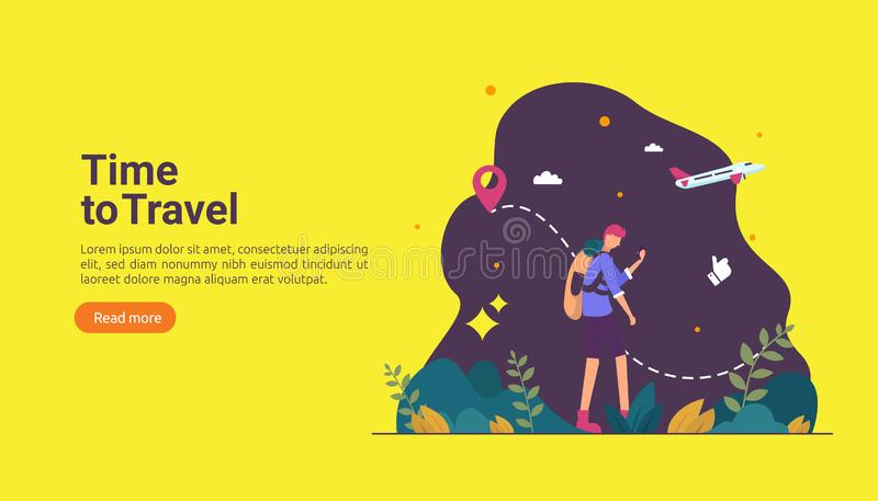 backpacker travel adventure concept. outdoor vacation recreation in nature theme of hiking, climbing and trekking with people royalty free illustration