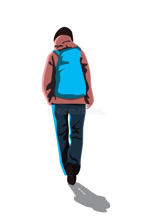 Backpacker walking backside royalty free illustration