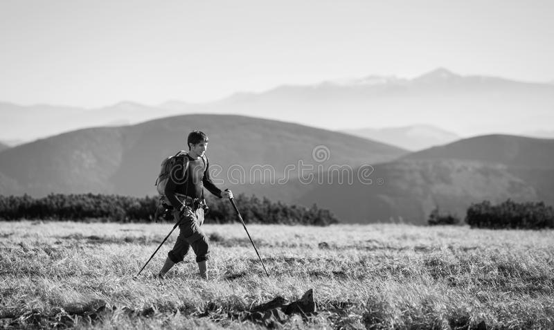 Backpacker walking on plato of the mountain with trekking sticks. Young man backpacker is walking on plato of the mountain with trekking sticks, higher mountains stock image