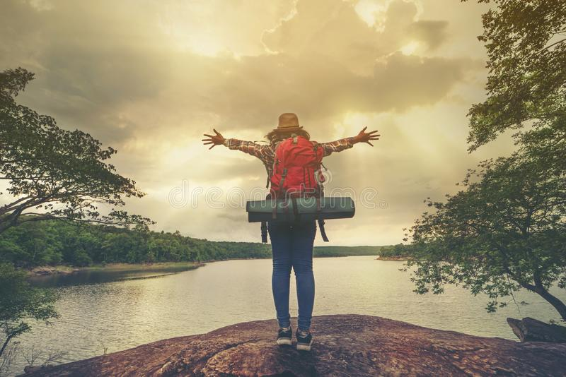 Backpacker woman open hand royalty free stock images