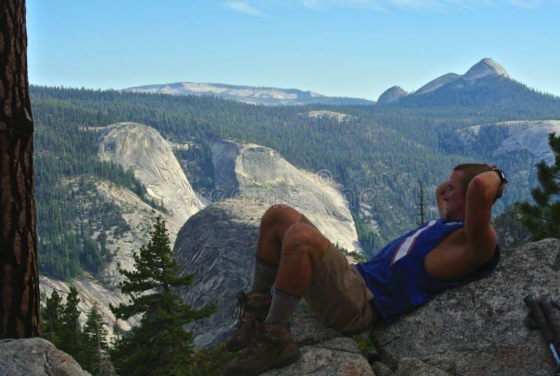 Backpacker - Yosemite royalty-vrije stock afbeeldingen