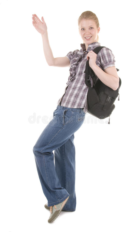 Backpacker A Young Woman royalty free stock photography