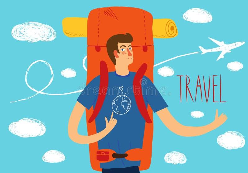 Backpackerillustratie stock illustratie