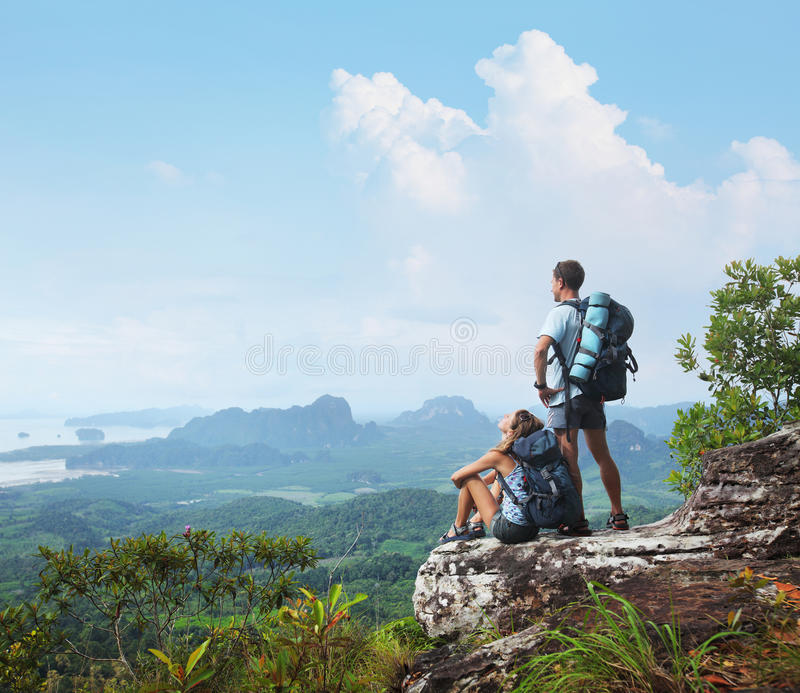 Backpackers stock photos