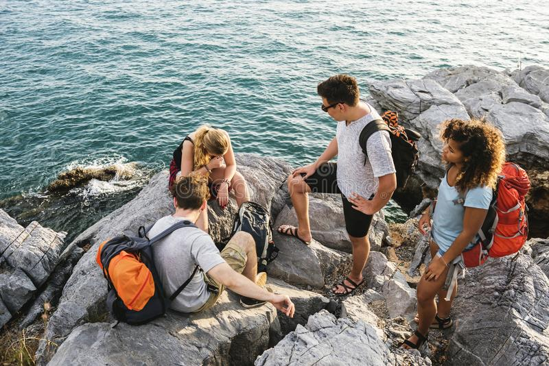 Backpackers on an adventure royalty free stock photo